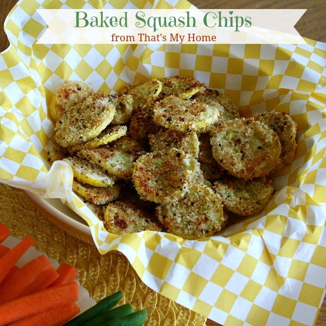 Baked Squash Chips are lightly breaded summer squash flavored with ...