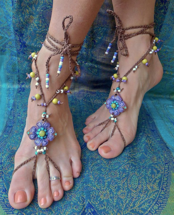 Gypsy Crochet | gypsy PURPLE BAREFOOT SANDALS with crochet brown lace