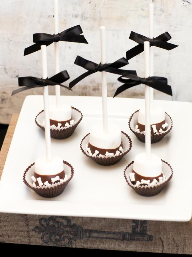 chocolate dipped marshmallow pops with bone sprinkles by tomkat studio ...