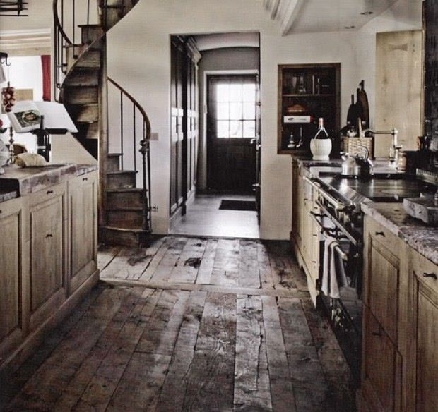 Rustic kitchen, stairs and floor boards  Barn homes  Pinterest