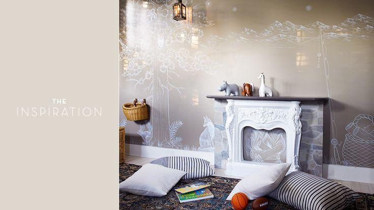 A Dream Nursery For Emily Blunt and John Krasinki // nursery, vintage rug, linen cushion cover, denim cushion cover, lantern