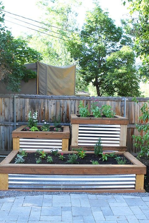 Corrugated metal raised planters Exterior Improvements