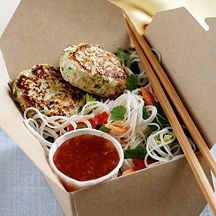Thai Noodles with Chicken Patties