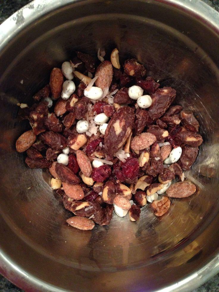 Homemade trail mix (shredded coconut, cranberries, yogurt covered ...