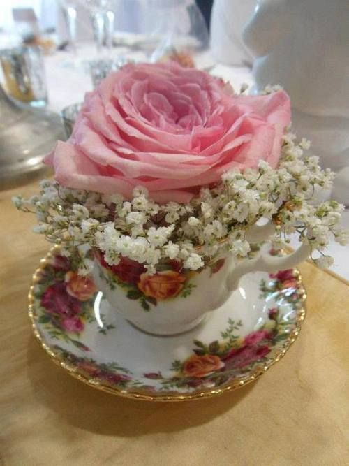 Rose and Baby's Breath in Teacup