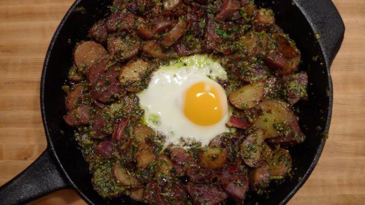 Bacon Egg & Potato Skillet With Swiss Chard Pesto | The Petite Beet