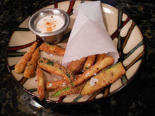 Gluten Free Zucchini Fries made with Rice Flour and Pecorino Romano & Parmesan Cheese