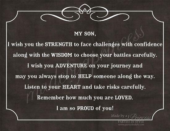 My Son, I Wish You Strength, Wisdom, & Adventure