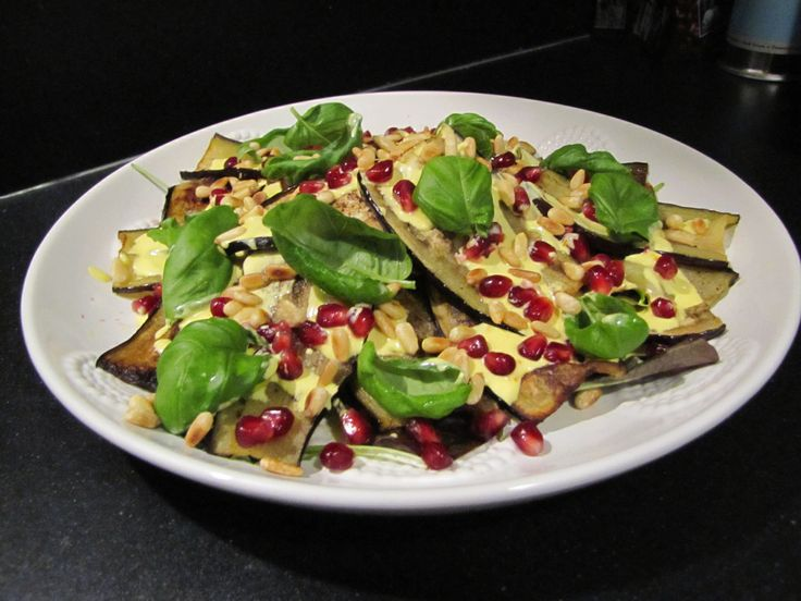 roast eggplant planks, pomegranate and pine nuts with saffron-lemon ...