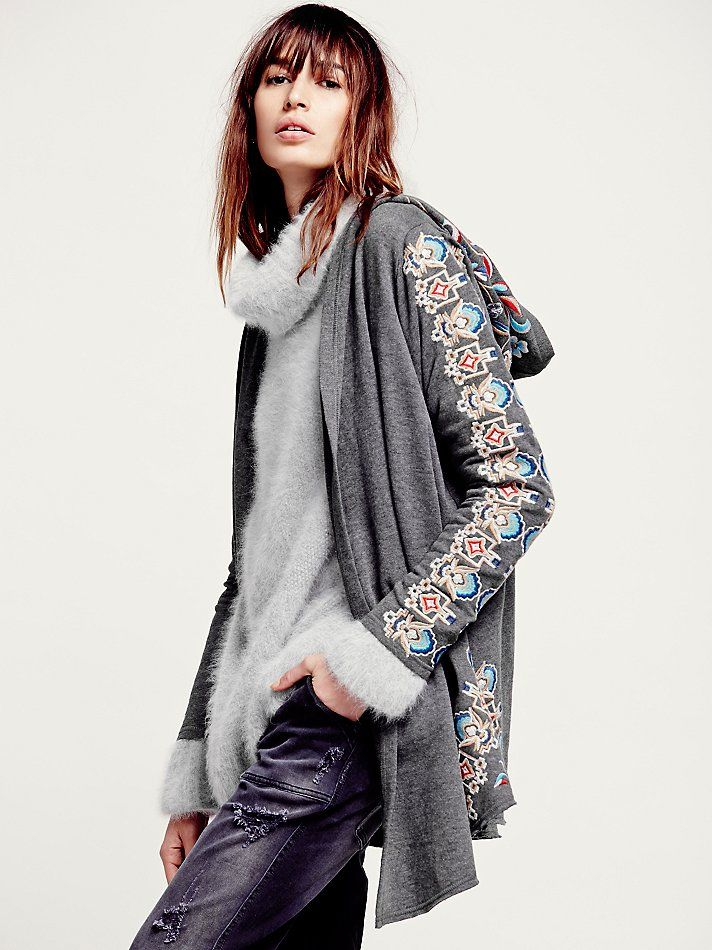 Free People Embroidered Hood Cardigan