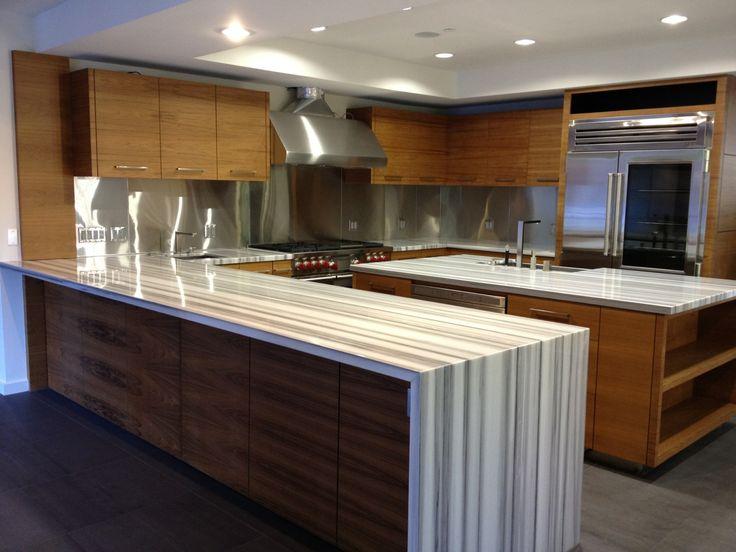 Waterfall countertop Favorite Sub-Zero Wolf Kitchens Pinterest