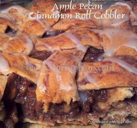 Apple Pecan Cinnamon Roll Cobbler RecipesForMyBoys.com