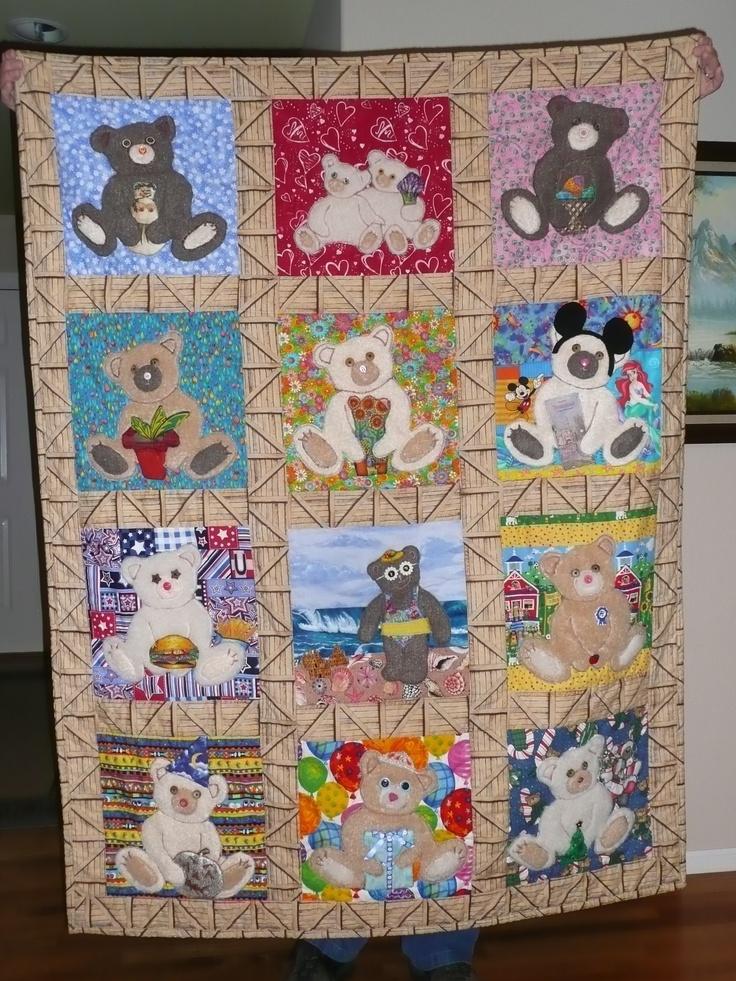 applique teddy bear for each month quilt quilts Pinterest