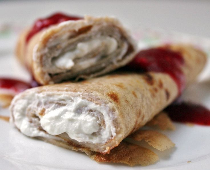 Rhubarb and Samphire: Spelt crepes with ricotta & red berry jam