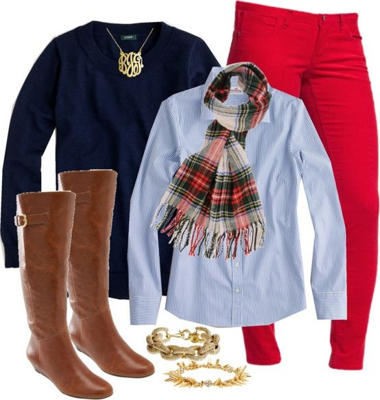 berry skinny pants, blue button down, navy sweater, plaid scarf, tall brown boots, gold monogram necklace