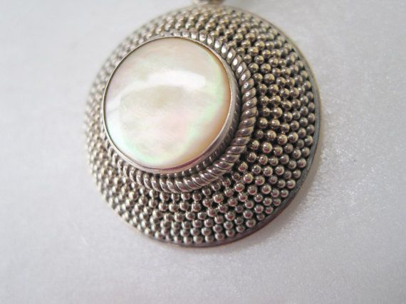 Vintage Sterling Silver Mother Of Pearlart Deco Pendant