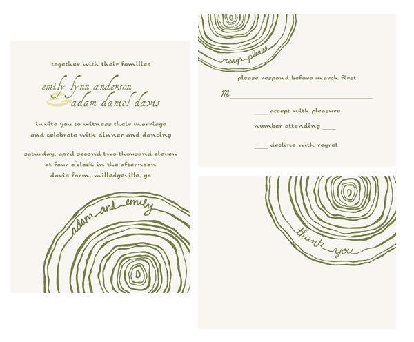 wood tree ring wedding invitation