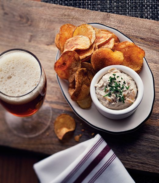 ultimate comfort food: thick-cut potato chips with pan-fried onion dip ...