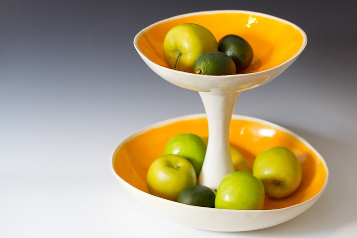 Large orange and white 2 tiered fruit serving or display bowl sculpt - Tiered fruit bowl ...