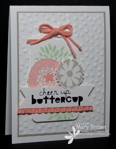 Mary's sweet card uses Petal Parade, Sweet Sorbet twine, & Decorative Dots embossing folder - all from SAB, plus Geometrical and the Scallop Tag Topper Punch. All supplies from Stampin' Up!