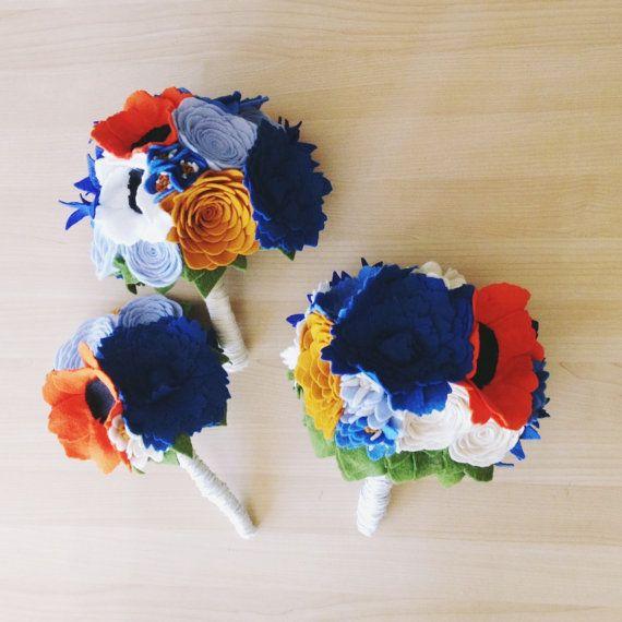 Felt bridesmaid bouquets: they double as a keepsake!