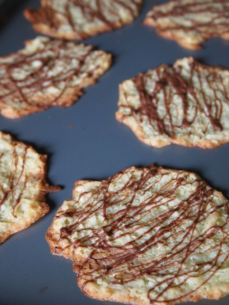 Chocolate Drizzled Coconut Tuiles | Peanut butter cookies | Pinterest