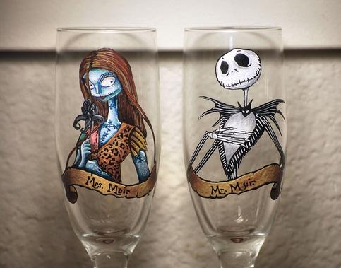 "Hand painted Jack & Sally ""Nightmare Before Christmas"" wedding toasting / wine glasses $30 ea http://katiespaintedglass.storenvy.com/"