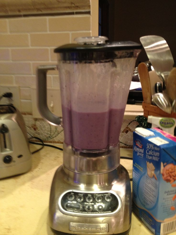Blueberry banana peach shake... Made it myself with frozen peaches ...
