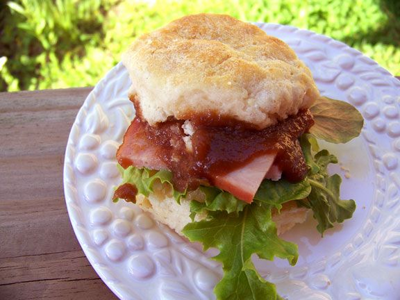 Biscuits with Kentucky Ham, homemade apple butter and spring greens. A ...