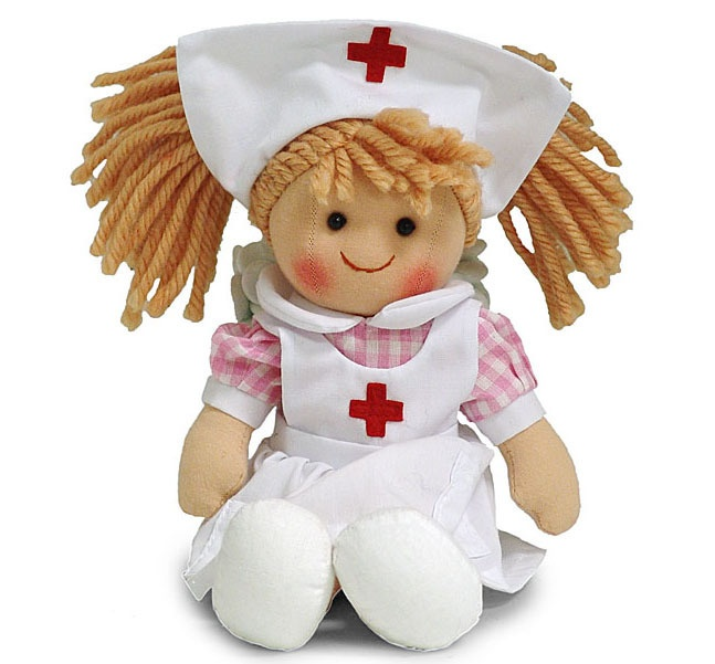 New NURSE DOLL Knit Plush Toy Stuffed WHITE UNIFROM DRESS Blonde Pi?