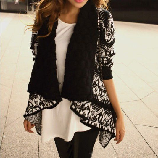 Irregular geometric pattern cardigan jacket BACCG