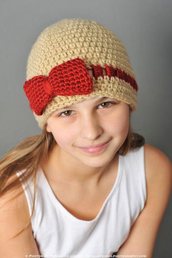 Crochet Hat Pattern Teenager : Crochet Pattern - Gracie Hat with Bow or Flower (teen ...
