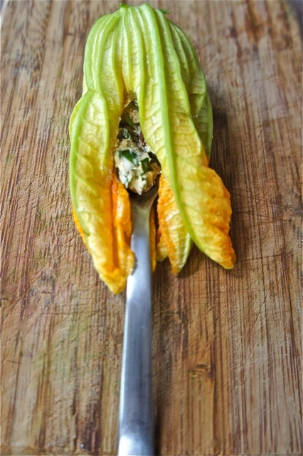 just ate 3 squash blossoms stuffed with goat cheese and sauteed in ...