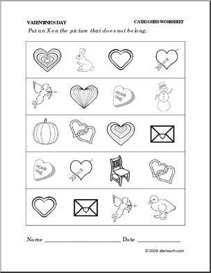 Worksheet: Valentine's Day - Categories (preschool/primary) - preview ...