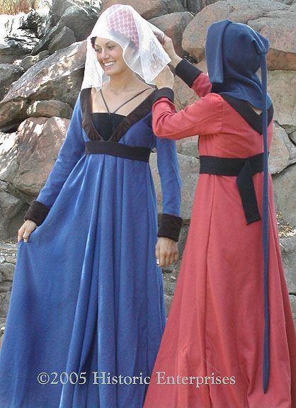 really like the blue dress.....  Gown, V-Neck Overgown, 15th century