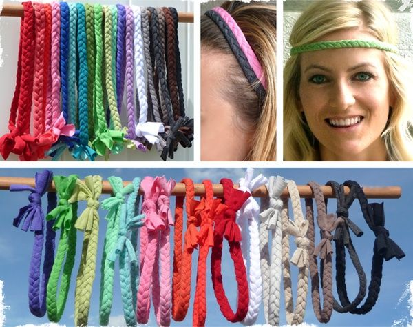 Comfortable Braided Headbands, made from old t-shirts