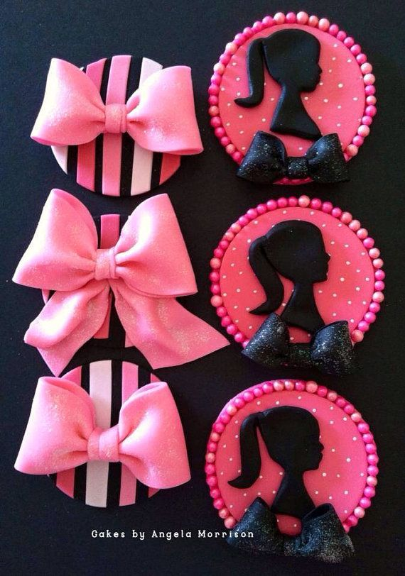Set Barbie cupcake/cookie toppers by CakesbyAngela on Etsy, $68.00