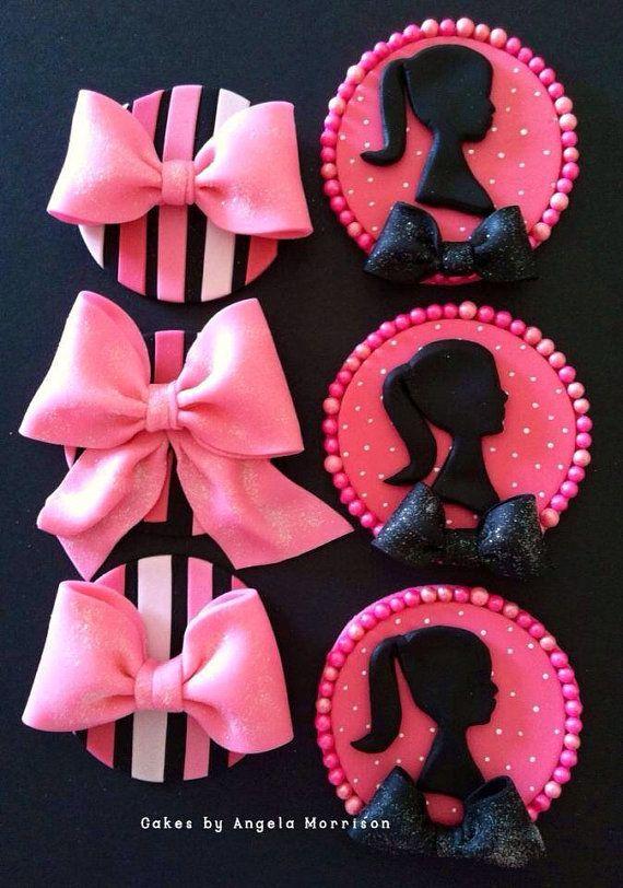 Set Barbie cupcake/cookie toppers by CakesbyAngela on Etsy, $68.00