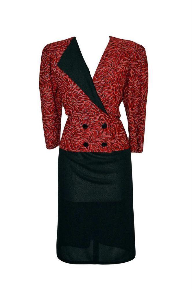 WOMENS/LADIES 1980 S VINTAGE CLOTHES, RED & BLACK SECRETARY DRESS, 14