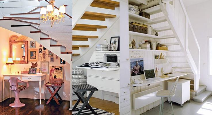 escritorio embaixo da escada