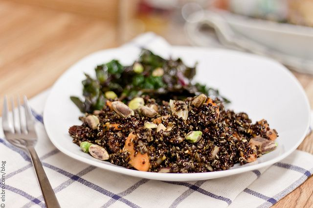 ... Quinoa Salad with Cherries and Balsamic Vinegar, and Roasted Chard