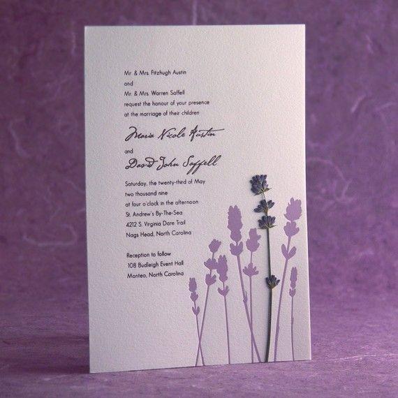 Field Pressed Flower Letterpress Wedding Invitation Lave