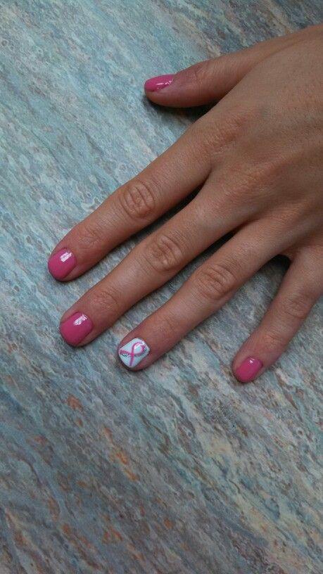 Breast cancer awareness nail art shellac | My Nails | Pinterest
