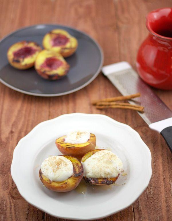 Grilled Peaches With Greek Yogurt | Greek Food | Greek Dessert | Lemon ...