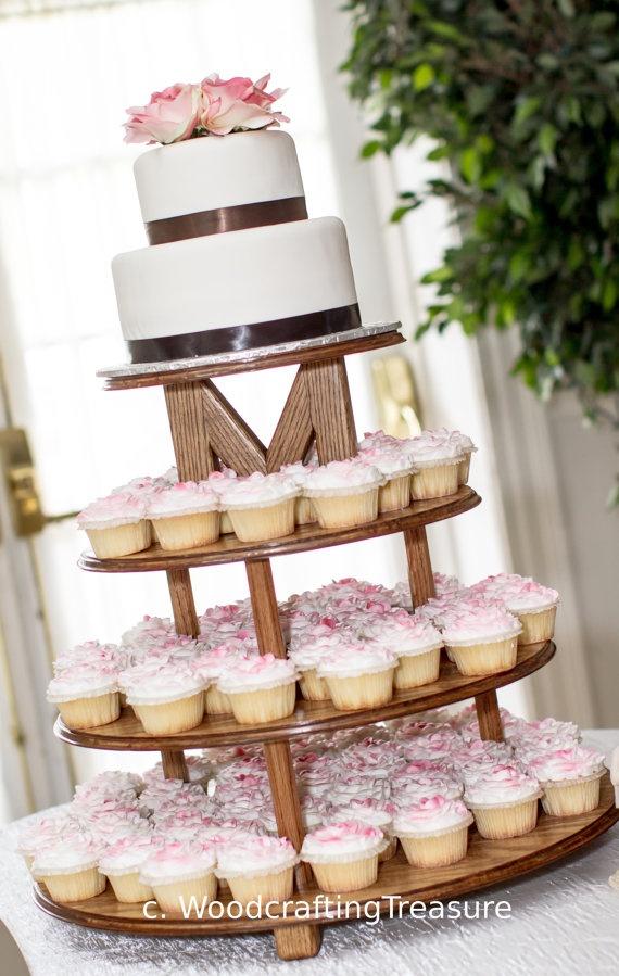 wedding cake and cupcake stand