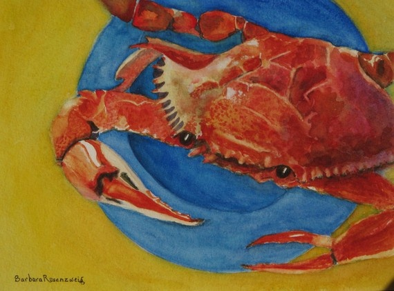 Red Crab Barbara Rosenzweig Art Print Etsy by BarbaraRosenzweig, $265.00