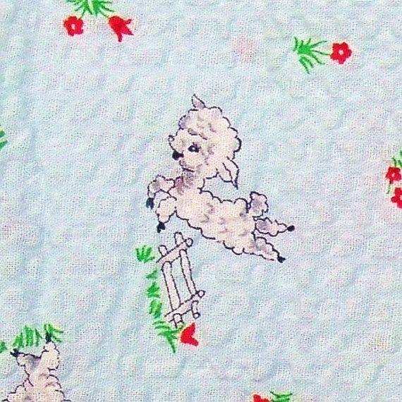 Vintage 1950s children fabric lambs cotton seersucker baby for Vintage childrens fabric