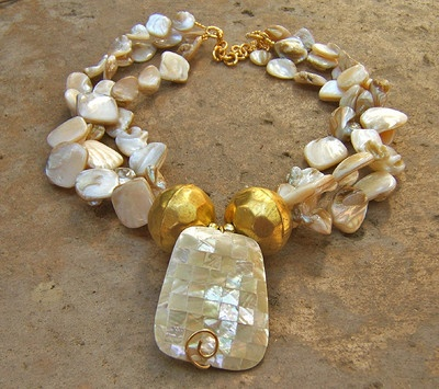 MOSAIC ABALONE MOTHER OF PEARL 3STR NECKLACE gold BRIDAL WEDDING JEWELRY