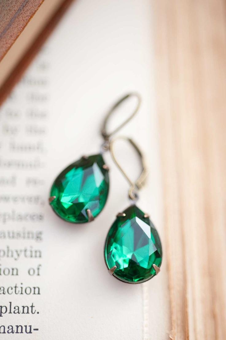 Emerald Earrings - Vintage Earrings Estate Style Vintage Crystal Emerald Pear Shaped Earrings Bridal Earrings - Fiona Simple, just the way I like it!!