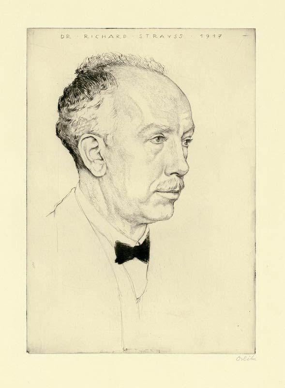 Emmil Orlik  ||  Preeminent Composer Richard Strauss Ething Drypoint 1916, 27 x 19 cm